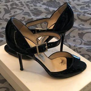 Jimmy Choo 24/7 black patent Mary Janes heels 36.5